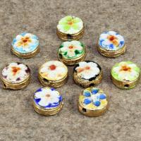 Cloisonne Perlen, Cloisonné, flache Runde, handgemacht, keine, 9x9mm, Bohrung:ca. 1.5mm, 10PCs/Tasche, verkauft von Tasche