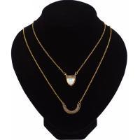 Muschel Halskette, Zinklegierung, mit Muschel, mit Verlängerungskettchen von 2inch, goldfarben plattiert, Rolo Kette & für Frau & mit Strass & 2 strängig, frei von Nickel, Blei & Kadmium, verkauft per ca. 15.7 ZollInch Strang