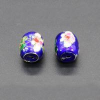 Cloisonne Perlen, Cloisonné, Trommel, handgemacht, blau, 15x11mm, Bohrung:ca. 1.5mm, 10PCs/Tasche, verkauft von Tasche