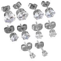 Edelstahl Ohrringe, verschiedene Größen vorhanden & für Frau & mit Strass, originale Farbe, verkauft von Paar
