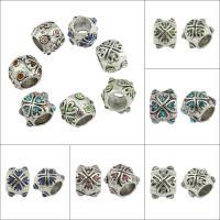 Strass Perlen European Stil, Zinklegierung, Trommel, antik silberfarben plattiert, ohne troll & mit Strass & großes Loch, keine, frei von Blei & Kadmium, 10x10x8mm, Bohrung:ca. 6mm, 50PCs/Tasche, verkauft von Tasche