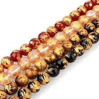 Mischedelstein Perlen, Edelstein, rund, natürliche & verschiedenen Materialien für die Wahl & verschiedene Größen vorhanden & Golddruck, Bohrung:ca. 1.3mm, verkauft per ca. 16 ZollInch Strang