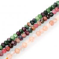 Mischedelstein Perlen, Edelstein, natürliche & verschiedenen Materialien für die Wahl & facettierte, 3x4mm, Bohrung:ca. 0.5mm, ca. 117PCs/Strang, verkauft per ca. 15.5 ZollInch Strang