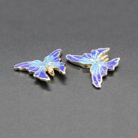 Imitation Cloisonne Zink Legierung Perlen, Zinklegierung, Schmetterling, plattiert, Emaille, keine, frei von Blei & Kadmium, 23x19mm, Bohrung:ca. 1.5mm, 10PCs/Tasche, verkauft von Tasche