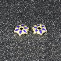 Zinklegierung Perlenkappe, Blume, goldfarben plattiert, Imitation Cloisonne & Emaille, frei von Blei & Kadmium, 7.6mm, Bohrung:ca. 1.5mm, 30PCs/Tasche, verkauft von Tasche
