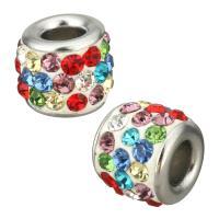 Strass Perlen European Stil, Edelstahl, mit Ton, Trommel, ohne troll, originale Farbe, 11x9x11mm, Bohrung:ca. 4.5mm, 5PCs/Menge, verkauft von Menge