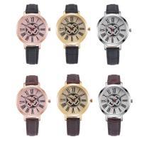 Damen Armbanduhr, Leder, mit Glas & Edelstahl & Zinklegierung, plattiert, für Frau, keine, 36x7mm, Länge:ca. 8.5 ZollInch, verkauft von PC