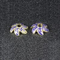 Zinklegierung Perlenkappe, Blume, goldfarben plattiert, Imitation Cloisonne & Emaille, frei von Blei & Kadmium, 11mm, Bohrung:ca. 1.5mm, 30PCs/Tasche, verkauft von Tasche