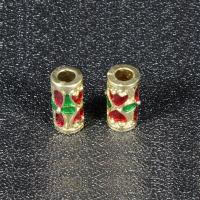 Imitation Cloisonne Zink Legierung Perlen, Zinklegierung, Zylinder, goldfarben plattiert, Emaille, frei von Blei & Kadmium, 13x6mm, Bohrung:ca. 3mm, 10PCs/Tasche, verkauft von Tasche