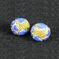 Messing Schmuckperlen, rund, goldfarben plattiert, Imitation Cloisonne & Emaille & hohl, frei von Nickel, Blei & Kadmium, 10mm, Bohrung:ca. 1.5mm, 10PCs/Tasche, verkauft von Tasche