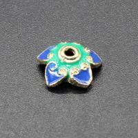Messing Perlenkappe, Blume, goldfarben plattiert, Imitation Cloisonne & Emaille, keine, frei von Nickel, Blei & Kadmium, 9-10mm, Bohrung:ca. 1.5mm, 10PCs/Tasche, verkauft von Tasche
