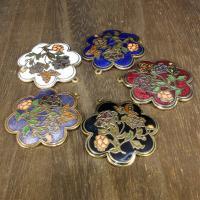 Cloisonné Anhänger, Blume, 24 K vergoldet, keine, 35x35mm, Bohrung:ca. 1mm, 10PCs/Tasche, verkauft von Tasche