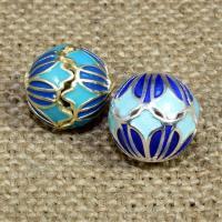 925 Sterling Silber Perlen, rund, plattiert, Imitation Cloisonne & Emaille & hohl, keine, 14mm, Bohrung:ca. 1.5mm, verkauft von PC
