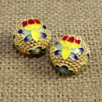 925 Sterling Silber Perlen, rund, goldfarben plattiert, Imitation Cloisonne & Emaille & hohl, 14mm, Bohrung:ca. 1.5mm, verkauft von PC