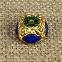 925 Sterling Silber Perlen, Rondell, goldfarben plattiert, Imitation Cloisonne & Emaille & hohl, 14x14mm, Bohrung:ca. 1.5mm, verkauft von PC