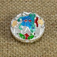 925 Sterling Silber Perlen, flache Runde, silberfarben plattiert, Imitation Cloisonne & Emaille & hohl, 20mm, Bohrung:ca. 1.5mm, verkauft von PC
