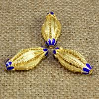 925 Sterling Silber Perlen, oval, goldfarben plattiert, Emaille & hohl, 21x11mm, Bohrung:ca. 1-2mm, verkauft von PC