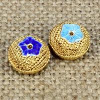 925 Sterling Silber Perlen, flache Runde, goldfarben plattiert, Emaille & hohl, keine, 12mm, Bohrung:ca. 1-2mm, verkauft von PC