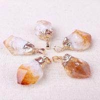 Natürlicher Quarz Anhänger, Gelbquarz Perlen, mit Messing, 40x20mm, Bohrung:ca. 2-4mm, 5PCs/Tasche, verkauft von Tasche