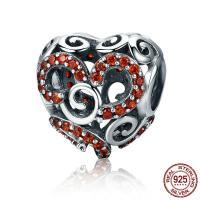 Thailand European Perlen, Herz, ohne troll & mit kubischem Zirkonia & hohl, 12x12mm, Bohrung:ca. 4.5-5mm, verkauft von PC