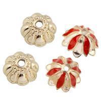 Zinklegierung Perlenkappe, Blume, goldfarben plattiert, verschiedene Stile für Wahl & Emaille, frei von Blei & Kadmium, verkauft von Tasche