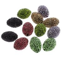 Strass Ton befestigte Perlen, oval, keine, 18x21mm, Bohrung:ca. 1mm, 5PCs/Tasche, verkauft von Tasche