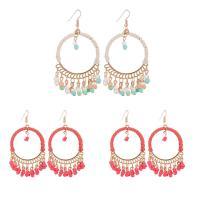 Mode-Fringe-Ohrringe, Zinklegierung, mit Baumwollsamt & Glas-Rocailles, Eisen Haken, goldfarben plattiert, für Frau, keine, frei von Blei & Kadmium, 40x75mm, verkauft von Paar