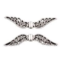 Zink Legierung Perlen Schmuck, Zinklegierung, Flügelform, antik silberfarben plattiert, frei von Blei & Kadmium, 32x7x3mm, Bohrung:ca. 1mm, 100G/Tasche, verkauft von Tasche