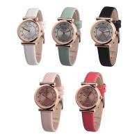 Damen Armbanduhr, Leder, mit Glas & Edelstahl & Zinklegierung, plattiert, für Frau, keine, 30x8mm, Länge:ca. 8.5 ZollInch, verkauft von PC