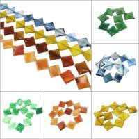 Achat Perlen, Rhombus, verschiedenen Materialien für die Wahl, 33x29x7mm, Bohrung:ca. 2mm, 13PCs/Strang, verkauft per ca. 15.3 ZollInch Strang