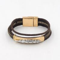 Mode Armband, Zinklegierung, mit Gewachste Hanfschnur, plattiert, für Frau, keine, frei von Blei & Kadmium, 190mm, verkauft per ca. 7 ZollInch Strang