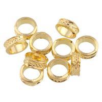 Zinklegierung Großes Loch Perlen, Ringform, goldfarben plattiert, frei von Blei & Kadmium, 8x3mm, Bohrung:ca. 5.5mm, 50PCs/Tasche, verkauft von Tasche