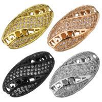Befestigte Zirkonia Perlen, Messing, plattiert, Micro pave Zirkonia & hohl, keine, 19x10x5mm, Bohrung:ca. 1.5mm, 10PCs/Menge, verkauft von Menge