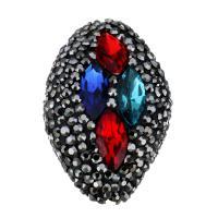 Strass Ton befestigte Perlen, Lehm pflastern, mit Kristall, oval, facettierte & mit Strass, 21x32x15.50mm, Bohrung:ca. 1.5mm, 5PCs/Menge, verkauft von Menge