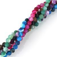 gemischter Achat Perle, rund, satiniert, 6mm, Bohrung:ca. 1mm, ca. 62PCs/Strang, verkauft per ca. 15 ZollInch Strang