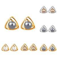 Zinklegierung Ohrstecker, mit ABS-Kunststoff-Perlen, Edelstahl Stecker, Dreieck, plattiert, für Frau, keine, frei von Blei & Kadmium, 14x14mm, verkauft von Paar