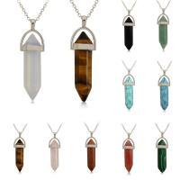 Edelstein Halskette, mit Eisenkette, Pendel, Platinfarbe platiniert, verschiedenen Materialien für die Wahl & unisex & Oval-Kette, 8x32mm, verkauft per ca. 17.5 ZollInch Strang