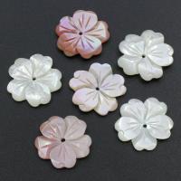 Muschel Perle, Blume, verschiedenen Materialien für die Wahl, 20x20x2.5mm, Bohrung:ca. 1mm, 30PCs/Tasche, verkauft von Tasche
