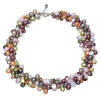 Natürliche kultivierte Süßwasserperlen Halskette, Messing Karabinerverschluss, mit Verlängerungskettchen von 5cm, Barock, für Frau, 7-8mm, verkauft per ca. 16.5 ZollInch Strang