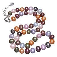 Natürliche kultivierte Süßwasserperlen Halskette, Messing Karabinerverschluss, mit Verlängerungskettchen von 5cm, Kartoffel, für Frau, farbenfroh, 8-9mm, verkauft per ca. 16.5 ZollInch Strang