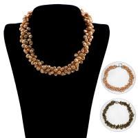 Natürliche kultivierte Süßwasserperlen Halskette, mit Messing, Knopf, verschiedene Stile für Wahl & für Frau, verkauft per ca. 16.5 ZollInch Strang