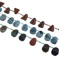 Edelstein Schmuckperlen, verschiedenen Materialien für die Wahl, 13x18x3mm, Bohrung:ca. 1mm, 25PCs/Strang, verkauft per ca. 15.7 ZollInch Strang