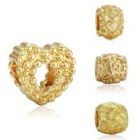 Zink Legierung Europa Perlen, Zinklegierung, goldfarben plattiert, verschiedene Stile für Wahl & ohne troll, frei von Blei & Kadmium, 10-15mm, Bohrung:ca. 4-4.5mm, 20PCs/Tasche, verkauft von Tasche