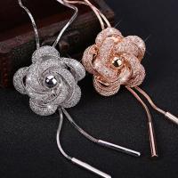 Zinklegierung Pullover Halskette, Blume, plattiert, Schlangekette & für Frau & mit kubischem Zirkonia & hohl, keine, frei von Nickel, Blei & Kadmium, 38x38mm, verkauft per ca. 37.7 ZollInch Strang