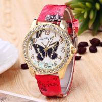 Damen Armbanduhr, PU Leder, mit Glas & Zinklegierung, Edelstahl Dornschließe, plattiert, für Frau & mit Strass, keine, 42mm, 20mm, Länge:ca. 9.4 ZollInch, verkauft von PC