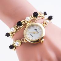 Damen Armbanduhr, Zinklegierung, mit Glas & Harz & Kunststoff Perlen, goldfarben plattiert, für Frau & 2 strängig, 25mm, 5mm, Länge:ca. 15 ZollInch, verkauft von PC
