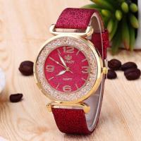 Damen Armbanduhr, PU Leder, mit Glas & Strass & Zinklegierung, Edelstahl Dornschließe, plattiert, für Frau, keine, 43mm, 20mm, Länge:ca. 9.4 ZollInch, verkauft von PC
