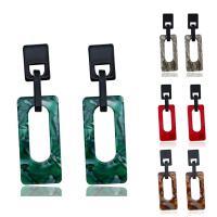 Acryl Tropfen Ohrring, Edelstahl Stecker, Rechteck, Platinfarbe platiniert, für Frau, keine, 88x26mm, verkauft von Paar