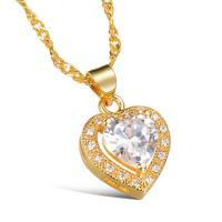 Zinklegierung Halskette, Herz, goldfarben plattiert, Doppelgliederkette & für Frau & mit kubischem Zirkonia, 13mm, verkauft per ca. 22 ZollInch Strang