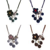 Wollschnur Halskette, mit Caddice & Plüsch & Glas-Rocailles, mit Verlängerungskettchen von 5cm, für Frau, keine, 450mm, verkauft per ca. 17.5 ZollInch Strang